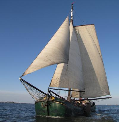 Authentic dutch sailing barge, monument