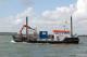 Multipurpose work ship, crane, spud legs