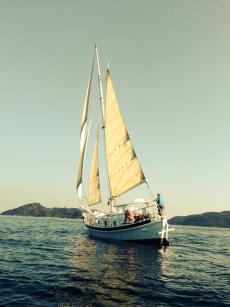 Wooden Gaff Rigger Sail boat