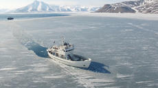Ice breaking Svalbard passenger ship Ulla Rinman.