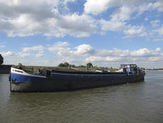 Dutch barge with mooring in the Netherlands