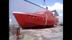 Steel hull project, houseboat, cabin cruiser, Bruce Roberts design