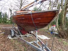 Reduced: Wooden Folkboat project or parts, Yanmar engine & trailer