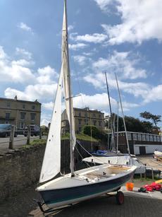 Laser 13 dinghy, launch trolley, oars