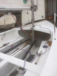 Wooden Albacore sailing dinghy