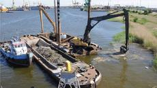 Pontoon with excavators
