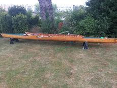 Wooden coastal rowing pair boat