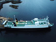 Norwegian coastal ferry with 378 tonn deck cargo 45 cars