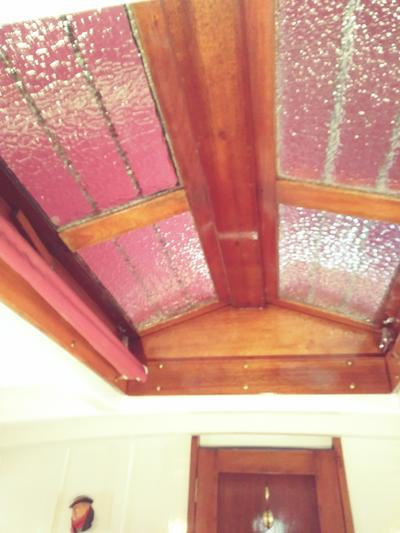 Mahogany deck vent hatch in state room