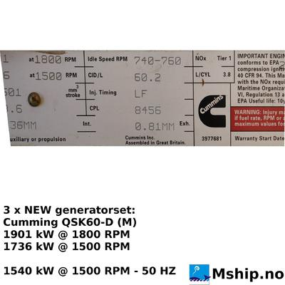 NEW Cummins QSK60-D (M) generatorset