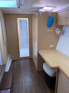 Desk and storage area