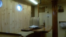 Galley woodpanelled and varnished