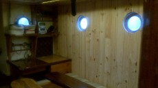 Galley recently panelled and varnished