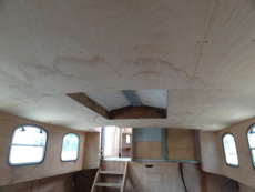 cabin roof insulated and lined