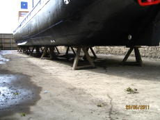 Under hull view in dry dock