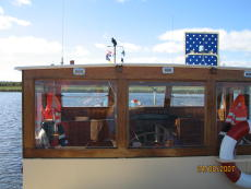 Timber wheelhouse view from aft