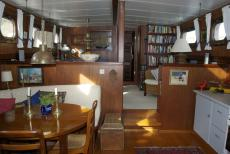Looking forward to dining room, galley, saloon and forward en-suites