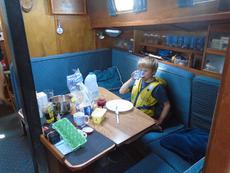 saloon: table drops to make a double berth