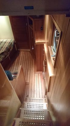 stairs to main bedroom below deck