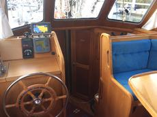 Steering station and galley downstairs.