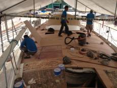 Installing new teak decks