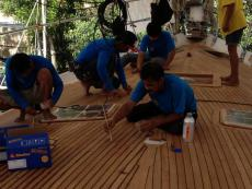 Teak Decks being laid in Thailand