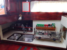 The galley area.  Infills are provided for the double sink.