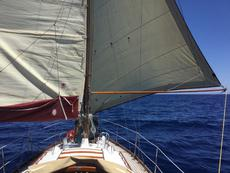 Whisker pole being used in light winds with the Genoa