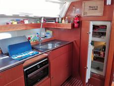 Galley with fridge/freezer