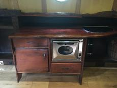 Unit in galley with oven and hobs