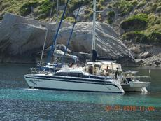 Boat with dinghy on davits