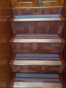 Stairs leading up the upper deck