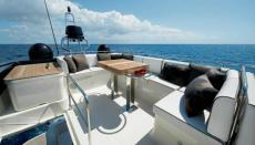 Flybridge View from behind the helm seat