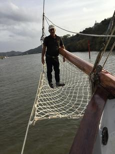 New bowsprit netting installed by Tony