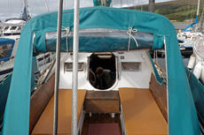 View into cockpit canopy from stern