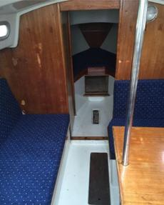 main cabin .Table is lowered on steel pole to form 2 berts(kids) Two adults :no.