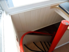 Steps from wheelhouse down to kitchen