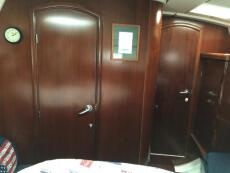 Forward stateroom with the door to main cabin closed