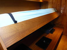 Starboard cabin desk changing into a bed