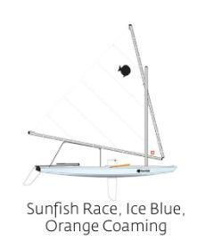 Sunfish Race, Ice Blue, Orange Coaming