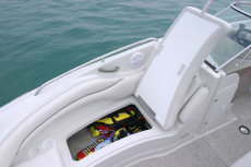 Crownline Deck Boat 220 EX - A large under-seat storage area in the bow compartment is ideal for storing full length skis and wakeboards