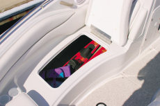 Crownline Deck Boat 240 EX - There is lots of up-front storage area thanks to the starboard side compartment that can hold full-length skis and wakeboards